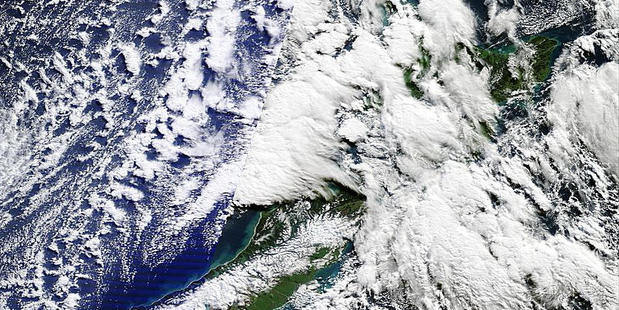 Loading An image supplied by Nasa shows the weather patterns responsible for chilly conditions around the country. Photo / Nasa