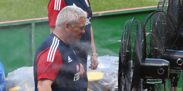 Warren Gatland has just found his biggest fan during a training session in Hong Kong. Photo Getty Images