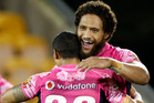 Manu Vatuvei and Pita Godinet show the relief of a win. Photo / Richard Robinson