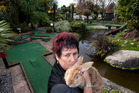 Mini Golf New Zealand manager Michelle Duncan with the remaining rabbit, Marbles. The tourist attraction has had several vandalism incidents recently.  Photo / Ben Fraser