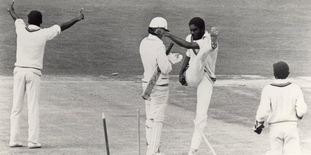 Michael Holding says his kicking over the stumps against New Zealand at Carisbrook came during a day of frustrating calls. Photo / Allsport