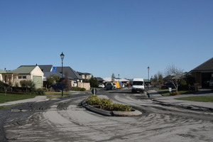 View down Courtenay Drive, Kaiapoi, after the September 4 earthquake. Photo / APN