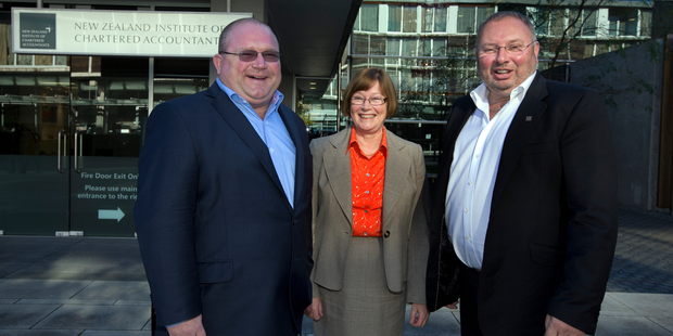 Craig Norgate, chief executive, Liz Hickey, president and Graham Crombie, chairman, of the New Zealand Institute Of Chartered Accountants. Photo / Brett Phibbs