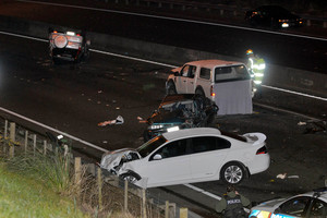 The scene of the fatal crash on the Northwestern Motorway. Photo / Michael Craig