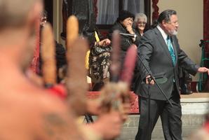 Dr Pita Sharples welcomes Sir Jerry Mateparae to Tangoio Marae. Photo / Warren Buckland