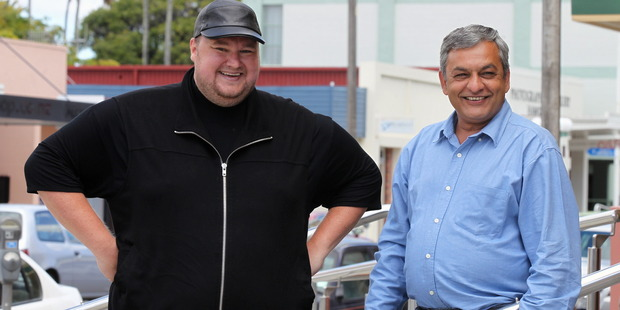 Mega founder Kim Dotcom with chief exec Vikram Kumar.  Photo / Duncan Brown