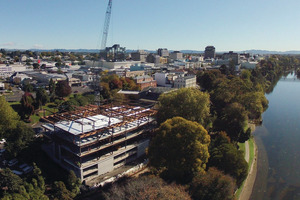 The four-level Riverside building under construction in Hamilton. Photo / Supplied