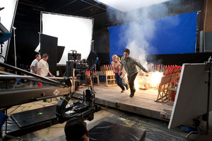 View of dramatic filming inside a Studio West studio building in Glen Eden. Photo / Supplied