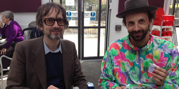 Pulp frontman Jarvis Cocker (left) with Florian Habicht. Photo / Supplied