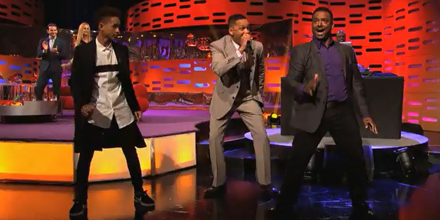 Jaden Smith, Will Smith and Alfonso Ribeiro on The Graham Norton Show. Photo/BBC