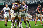 The Storm secured their first win in a month with a 26-18 victory over the Roosters. Photo / Getty Images