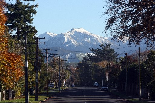 Snow covered Tararua Ranges looking to Mitre Peak viewed from Upper Plain Road, Masterton