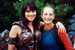 Lucy Lawless as Xena and stuntwoman Zoe Bell. Photo/Supplied