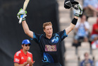 Martin Guptill of New Zealand celebrates reaching his century during the 2nd NatWest Series ODI between England and New Zealand at Ageas Bowl. Photo / Getty Images
