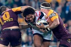 Manu Vatuvei runs the ball up for the Warriors. Photo / Getty images