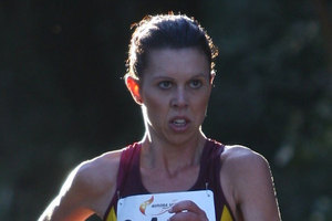 Lesley Cantwell collapsed after winning the 5000m race walking title at the Oceania Area Track & Field Championships. Photo / Athletics NZ