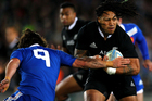 Ma'a Nonu of New Zealand breaks the tackle from Maxime Machenaud of France during the first test match between the New Zealand All Blacks and France at Eden Park. Photo / Getty Images.