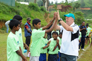 Sir Graham Henry started off in Kandy, watching the secondary schools rugby final before moving on to coach at Radella. Photo / Supplied