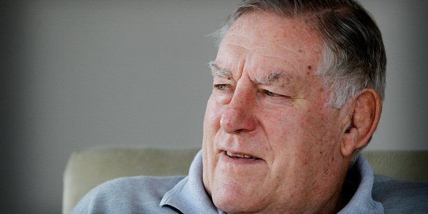 Sir Colin Meads at his Te Kuiti home yesterday celebrating his 77th birthday with Lady Verna. Photo / Christine Cornege