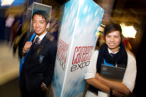 Year 13 students Alessandro Marin (left) and Besmillah Mirzaee check out the careers expo. Photo / Richard Robinson.