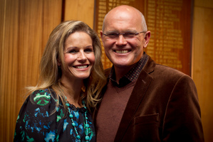 Martin Crowe and his wife, Lorraine Downes, at the book launch in Auckland yesterday. Photo / Natalie Slade