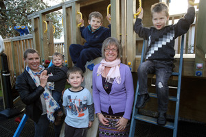 Clockwise from left, Mary Bradley with sons Ben, 2, Luke, 6, and Josh, 4, and Colleen Fox with son Caleb, 4. Photo / Supplied
