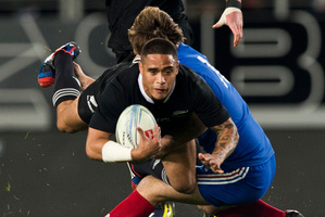 Aaron Smith scores for the All Blacks in last night's French test. Photo / Richard Robinson