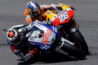 Spain's Jorge Lorenzo, left, overtakes second placed compatriot Dani Pedrosa on his way to win the Italian Moto GP, at the Mugello race circuit, in Scarperia, Italy. Photo / AP