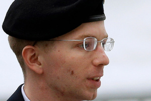 Prosecutors alleged that Bradley Manning, 25, plotted with Julian Assange. Photo / AP