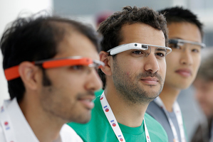 Google Glass team members wear Google Glasses at Google I/O 2013 in San Francisco. Photo / AP