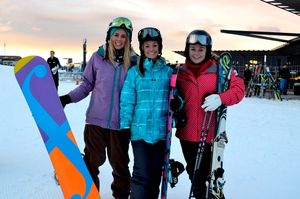 Chloe Barry (above left) Kate O'Flynn and Bridget Judd at Coronet Peak yesterday. Photo / Morgan McFie