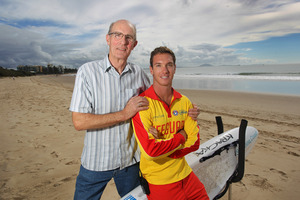 Megan Mackander Tony Miles and lifeguard Ricky Smith. Photo / Sunshine Coast Daily