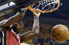 LeBron James of the Miami Heat dunks against the Indiana Pacers. Photo/AP