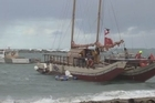 "Hawkes Bay's Te Matau a Maui sailing waka was forced to anchor after hitting ""horrendous"" seas near Wellington Harbour last night."