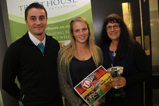 The Wairarapa Sports Awards 2013. Youth Sports Team of the Year is Wairarapa College Girls Hockey First 11. From left, sponsor Quentin Henderson, Trevs Sports; Katherine Van Woerkom, last year's captain, and team manager Karen O'Connor.