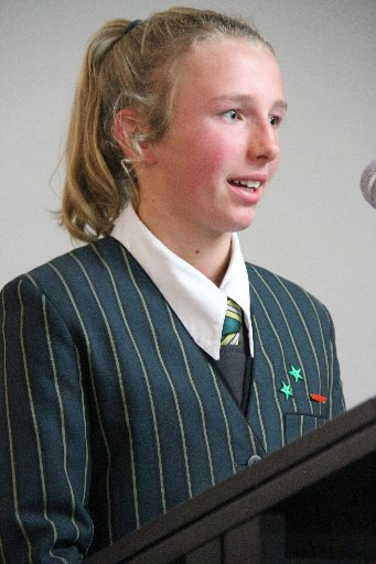 The Wairarapa Sports Awards 2013. Junior Sports Personality of the Year is Kate Sims, St Matthews Collegiate School.