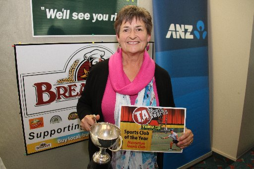 The Wairarapa Sports Awards 2013. Winner of the Sports Club of the Year is the Masterton Tennis Club. Treasurer Marie Millar collects the awards.