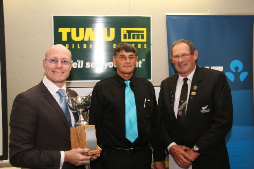 The Wairarapa Sports Awards 2013. Wairarapa Times-Age editor Andrew Bonallack with the joint winners of the Sports Awards. Dave Bashford (centre), president of the Masterton Axemen Club, collecting on behalf of sawyer champion Faavae Sefo, and shearing gu