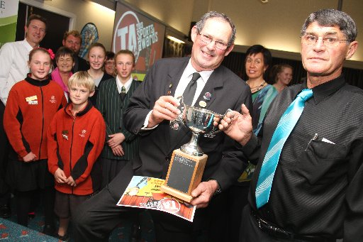 Wairarapa Sports Awards 2013.The winners of the awards night stand with joint winners of the Supreme Sports Award. Shearing guru Willie Buick (centre) and Dave Bashford, president of the Masterton Axemen Club, collecting on behalf of sawyer champion Faava