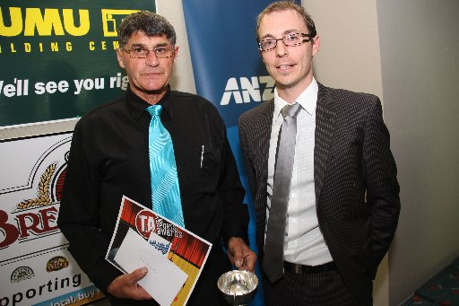 Wairarapa Sports Awards 2013. Dave Bashford, president of the Masterton Axemen Club, collects Faavae Sefo's Senior Sports Personality of the Year Award, beside physiotherapist and sponsor Ryan Monastra, of Back In Action.