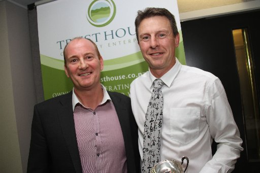 Wairarapa Sports Awards 2013. Coach of the Year is athletics coach Mark Harris (right), pictured with Trust House CEO Allan Pollard.