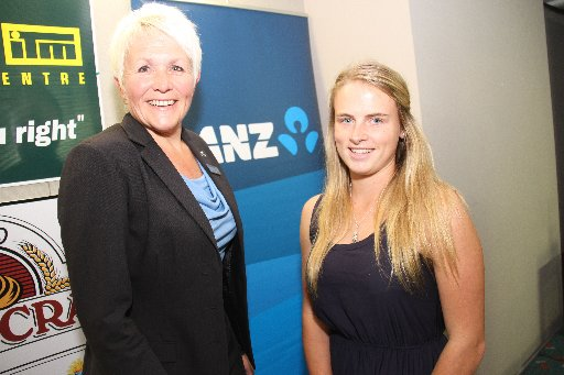 Wairarapa Sports Awards 2013. Youth Sports Personality of the Year is Katherine van Woerkom (right), pictured with sponsor Wendy Morrison, ANZ branch manager.