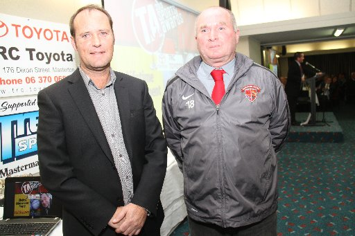 Wairarapa Sports Awards 2013. Winner of the Lifetime Achievement Award is Phil Keinzley (right), pictured with sponsor Terence O'Hara, branch manager at TRC Toyota.