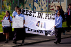 Students arrive at Kelston Intermediate School for the the funeral of 15-year-old Stephen Dudley. Photo / NZ Herald