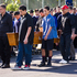 The coffin arrives at Kelston Intermediate School for the the funeral of 15-year-old Stephen Dudley. Photo / NZ Herald