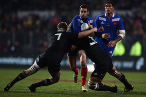 The second test against France brought a vast improvement in the All Black's defensive effort.  Photo / Getty Images