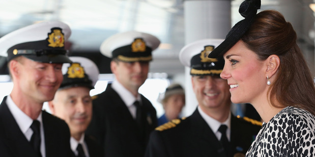 Catherine, Duchess of Cambridge on board the new Royal Princess cruise liner. Photo / AP