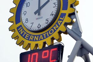The new $23,000 clock in Mosgiel has been getting the temperature a little wrong. Photo / ODT