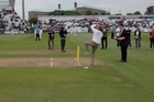 A man won £50,000 during the interval of the Trent Bridge ODI, courtesy of Stowford Press, when he bowled three balls which hit the stumps. Video / Youtube: ecbcricket