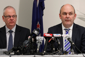 A class action has been filed against Acting Secretary for Education Peter Hughes, (left) seen here with Novopay Minister Steven Joyce. Photo / Mark Mitchell
